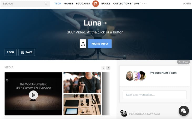 Screenshot luna product hunt