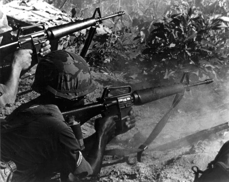 A U.S. Army sergeant and rifleman engage enemy targets with M16 rfles in Loc Ninh, October 1967. Vietnam marks the 40th anniversary of the capture of Saigon by North Vietnamese forces on April 30, the event that ended a war that lasted over 30 years, killing up to four million Vietnamese, the Vietnamese government said, and more than 58,000 U.S troops, the U.S. Defense Ministry has said. Vietnam refers to the event as the date of its reunification. REUTERS/Courtesy U.S. Army - RTX1AW33