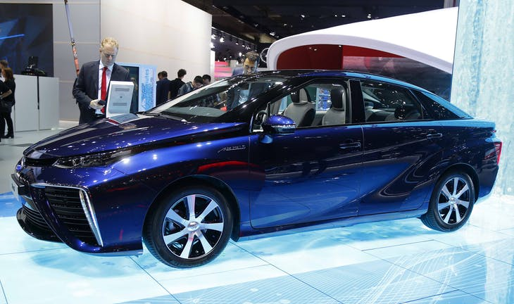 A Toyota Mirai hydrogen fuel cell car is pictured during the media day at the Frankfurt Motor Show (IAA) in Frankfurt