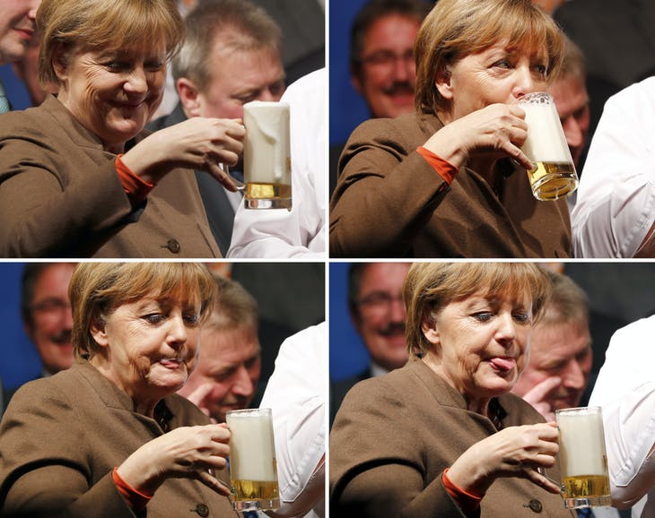 A combination photo shows German Chancellor Angela Merkel enjoying a beer during the Christain Democratic Union (CDU) political Ash Wednesday meeting in Volkmarsen, Germany February 29, 2016.   REUTERS/Kai Pfaffenbach - RTS8MZU