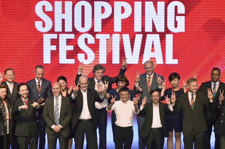 (Front row centre L to R) Alibaba Group's President Michael Evans, executive chairman Jack Ma and CEO DaaREUTERS/Stringer/File Photo CHINA OUT. NO COMMERCIAL OR EDITORIAL SALES IN CHINA. - RTX2EUEH