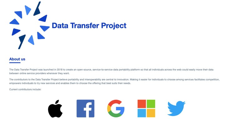 Data Transfer Project 網站截圖