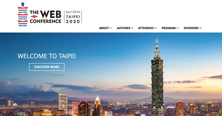"""The Web Conference 2020 <a href=""""https://www2020.thewebconf.org/"""" target=""""_blank"""">官網</a>截圖"""